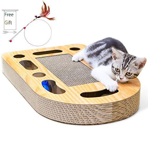 Old Tjikko Katzen Kratzbrett,Kratzbrett für Katzen mit Katzenminze,Interaktives Kratzbrett als Katzenspielzeug,Kratzmöbel aus Wellpappe für Katzen mit Spielball(50.5 * 30.5 * 6cm)