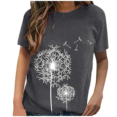 Amandaz Womens Short Sleeve T Shirt Color Block Twist Casual Blouses and Tops Ladies Casual Printed Round Neck Short Sleeve T-Shirt O-Neck Print Loose Top Gray