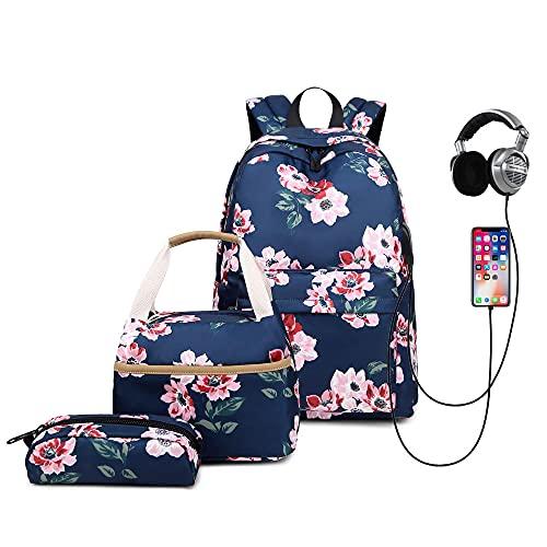 2021 Nueva Mochila al Aire Libre Impresa Femenino High School Student Schoolbag Multifuncional Viaje Mochila-Azul Marino_17 Pulgadas