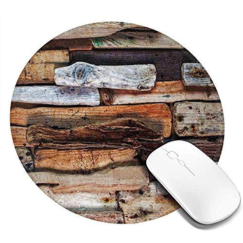 Ronde muismat, Houten Thema Drijfhout en Knotty Planken in de Vintage Stijl Ontwerp Digitale Afbeelding, Antislip Gaming Mouse Mat