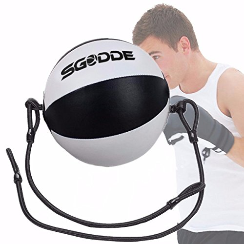 SGODDE Leather Boxing Ball, Speed Dodge Ball Double End Gym MMA Boxing Sports Punch Bag Floor to...