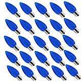 25 Pack Outlet Faceted C9 Christmas Lights, LED Light Bulbs Holiday Decoration, Christmas Decor for Indoor & Outdoor Use, 5 SMD LEDs in Each Light Bulb (Blue)