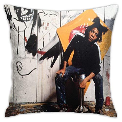 XCNGG Funda de almohadaJeanMichel Basquiat Fashion Square Pillowcase Sofa Office Cushion Cover Living Room Bedroom Pillowcase 18x18 Inch
