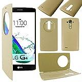 ebestStar - Funda Compatible con LG G4 H815, G4 Dual-LTE Carcasa Billetera Ventana Vista View, Cuero PU Anti choques Case Cover, Dorado [Aparato: 149 x 76.2 x 9.8mm, 5.5'']