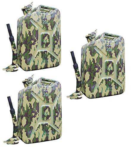Baumarktplus TRUTZHOLM 3X Metallkanister 20l Benzinkanister Camouflage + 3X Ausgießer flexibel Reservekanister Dieselkanister bleifrei bleihaltig Ölkanister Ethanolkanister Bundeswehr Tarnfarbe