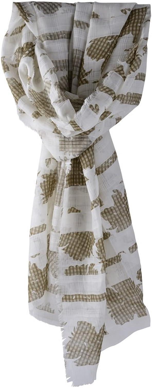 Agnona Scarf Women's Brown Offwhite Floral Cotton 196 cm x 66 cm