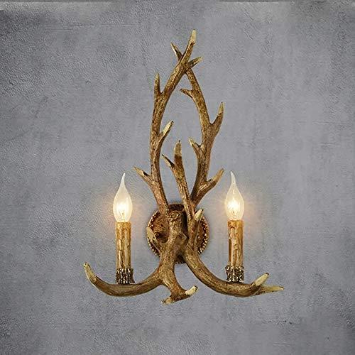 Lámpara de pared rústica de asta de cuerno de ciervo,2 luces,Aplique de lámpara de pared,Lámpara de pared de asta de arco de la suerte,Decoración de lámpara de pared,38cm,50cm,2 bombillas incluidas