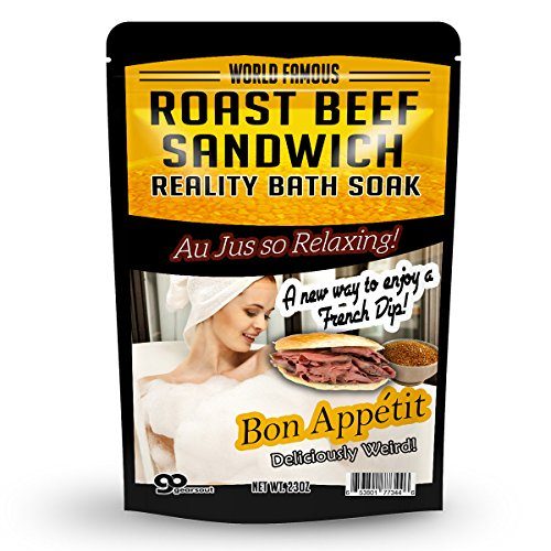 Roast Beef Sandwich Bath Soak – Amber Bath Salts Luxury Bath Funny Girlfriend Gifts For Best Friends Bath And Body Gifts For Men Sea Salts Funny Spa Gifts for Men Weird Gifts Au Jus French Dip