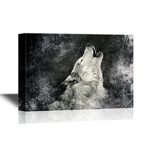 wall26 - Wolf Canvas Wall Art - Howling Wolf with Grunge Background in Black and White - Gallery Wrap Modern Home Art | Ready to Hang - 16x24 inches