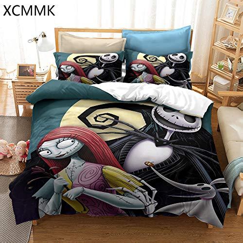 XCMMK The Nightmare Before Christmas Juego de Funda nórdica Estilo espantapájaros Sally y Jack Skellington Funda nórdica y 1 Fundas de Almohada (135 x 200 cm y 50 x 75 cm)