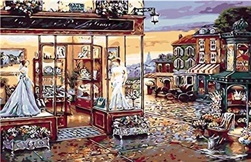 HAON Street Famous Shop Paint by Numbers Kits Pittura Digitale Fai-da-Te Colorare su Tela Pittura a Olio da Soli 40x50cm Fatto a Mano Senza Cornice