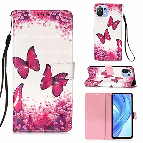 CRABOT Funda Xiaomi Mi 11 Lite Carcasa Tarjeta Billetera Pintado Patrón Hebilla Magnética Cubierta Protectora+1pcs Protector de Pantalla -(Mariposa Roja)