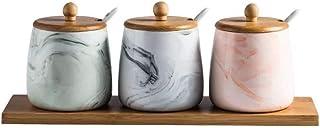 WZHZJ Céramique Marbre Pot à épices Cuisine Assaisonnement Outil sel et Poivre Blanc Bouteille Sucre Pot créatif de Cuisin...