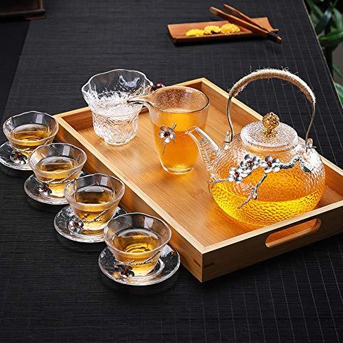 Heat Resistant Glass Tea Pot Home Flower Teapot Office Kettle Drinkware Creative Boutique Japanese Glass Teapot High Borosilicate Household Health Pot (12-Piece Set)