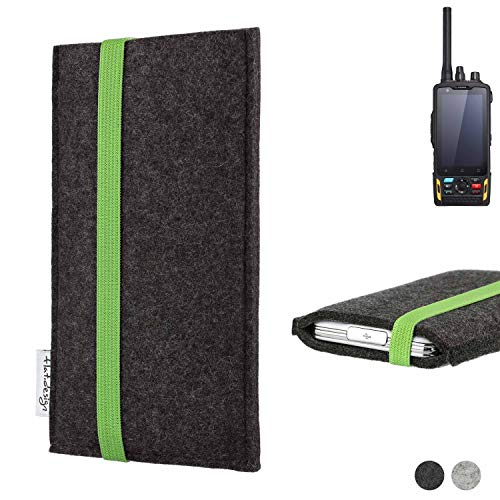 flat.design Handy Hülle Coimbra für Ruggear RG760 handgefertigte Handytasche Filz Tasche fair grün dunkelgrau
