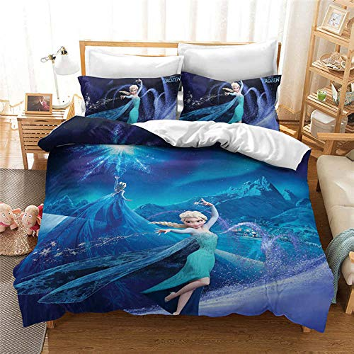 Snoevpar Bedding Duvet Cover Cartoon Anime Character 135 * 200Cm Printed Quilt Cover With Zipper Closure,3 Pieces(1 Duvet Cover + 2 Pillowcases), Soft Polyester Fiber Gothic Bedding