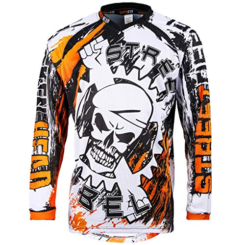 Broken Head MX Jersey Street Rebel Orange - Langarm Funktions-Shirt Für Moto-Cross, BMX, Mountain Bike, Offroad - L
