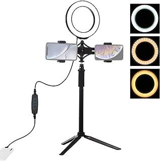 Lichtring mit Stativ, Teakpeak 6,2 Zoll Einstellbares LED Ringlicht Selfie Ringlicht mit Stativ + Doppeltem Handyhalter + Mittelpol für Selfie Schminken Blogger Live Stream und Video