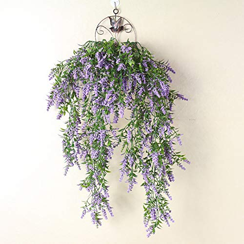 Gemini_mall Artificial Lavender Fake Flower Garland Hanging Vine String Plant Greenery for Wall Garden Bathroom Fence Indoors Outside Decor Purple