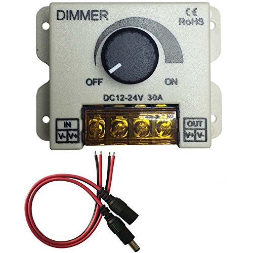 Kabenjee PWM 0~100% LED Dimmerschalter Drehknopf EIN/AUS Schalter mit Feuerhemmende Kunststoffschale,Max 30A Dimmen für 5050 3528 2835 5630 LED Streifen Beleuchtung,LED Band Dimmer Controller
