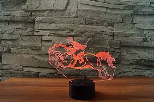 Ilusión 3D luz nocturna 7 colores LED visual fresco caballo de montar instrumento musical USB decoración del hogar juguetes para niños regalo creativo colorido control remoto