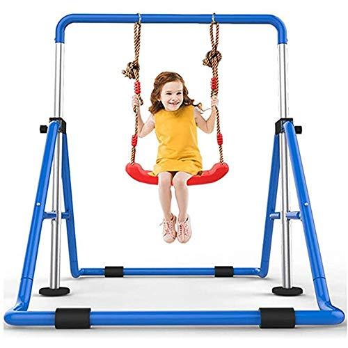 WANGJIANG Fitness Faltbarer Kinder Reck Pull-ups Start -Schwenkrahmen Fitnessgeräte Home Sport Raum Verstellbare Kinder (Color : Blue)