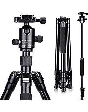 SAMTIAN Kamerastativ, 165 cm/65 tum bärbart stativ i aluminium med monopod och 360 ° panorama-kulhuvud, 1/4 snabbkopplingsplatta och telefonklämma för DSLR SLR-kamera upp till 12 kg