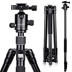 SAMTIAN Camera Tripod, 165cm / 65inches Aluminum Portable Tripod With Monopod And 360 ° Panorama Ball Head, 1/4 Quick Release Plate And Phone Clip For DSLR SLR Camera Up To 12kg