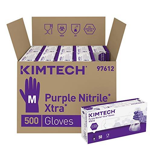 Kimtech Purple Nitrile Xtra Schutzhandschuhe, Größe M, Beidseitig tragbar, Violett, 10x50 Stück