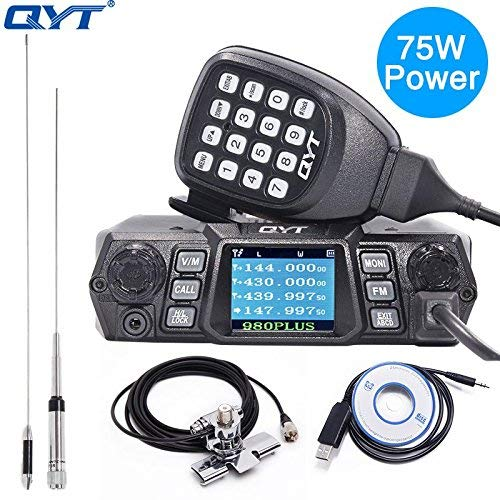QYT KT-980 Plus Powerful 75W(VHF)/ 55W(UHF) Dual Band Quad Standby Mobile Amateur (Ham) Radio with Programming Cable & CD+Antenna Kits Dual Band Quad Band