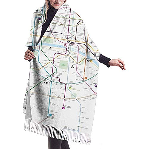 Paris Metro Map heren en dames winter lange kasjmier sjaal