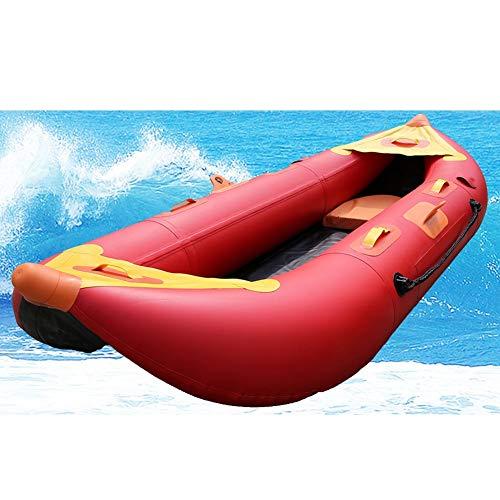 DMBHW 2 Personas Espesar Cabeza Puntiaguda Barca Hinchable 2.6M Rafting Al Aire Libre Pescar Bote Salvavidas Material de PVC con Amortiguar y Kit de reparación