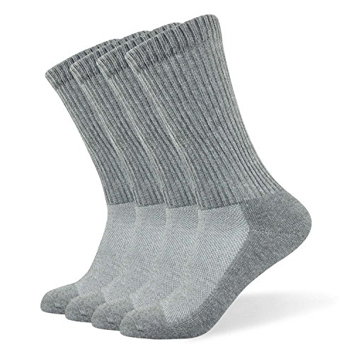 Well Knitting Diabetic Socks for Men & Women, Coolmax Medical Circulation Crew Mid Calf Socks with Seamless Toe, Non-Binding Top, and Padded Sole, 4 Pairs (L,Grey)