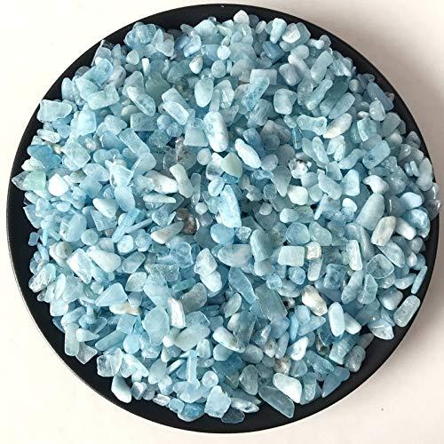 OYZK 100g 8-12mm Grava Natural Aquamarine de Cristal de Cuarzo Piedra de la Roca Chips de muestras Suerte Piedras Naturales y Minerales (Color : 100g 8 12mm)