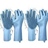 Silicone Dishwashing Gloves Magic Wash Scrubber,260g(9.17oz) for a Pair More Durable &More Heat-Resistant, Multi-use Reusable Scrubbing Sponge Gloves,Washing&Cleaning Tool Gloves/2 Pairs/Blue/For You
