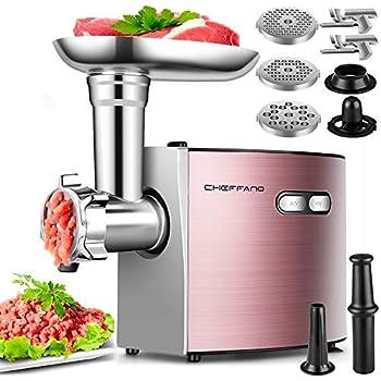 ElectricMeatGrinder,CHEFFANO StainlessSteelMeatMincerSausageStuffer 2000WMax ETLApproved Meat Grinder Machine with3GrindingPlates,2Blades,SausageKubbeKit Sets Rose Gold