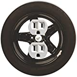 Rikki Knight RND-OUTLET-90 Car Tire Racing Round Single Outlet Plate, Black