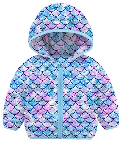 Baby Girls Down Alternative Coats Adorable 3D Mermaid Winter Coats Hoods Kids Lightweight Packable Purple Fish Scales Puffer Coats Outwear Clothes 2-3 Years Old