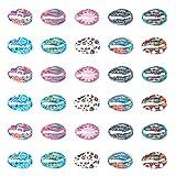 PandaHall 40pcs 10 Color Print Shell Beads Aleación Cowrie Shell Charms Cuentas para DIY Verano Playa Artesanía Joyería Accesorios 16x11mm
