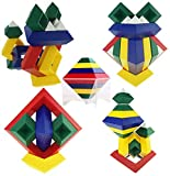 AWESOME CHOICE Pyramid Stacking Building Blocks 3D Puzzle Brain Teasers for Kids and Adults | Creative Early Childhood Educational Toys for Preschool Assembled Stackable and Nestable Imagination Set