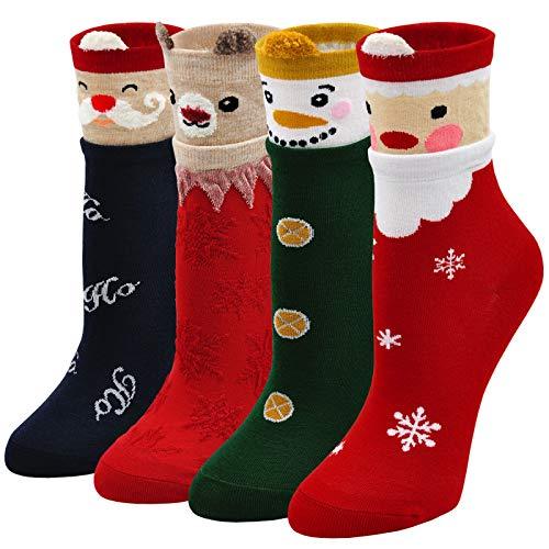 Calcetines Divertidos Mujer Calcetines de Algodón, Calcetines de Navidad Mujer Calcetines de Animales Lindos, 5 Pares (caja de regalo 1-4 pares, 36-41)