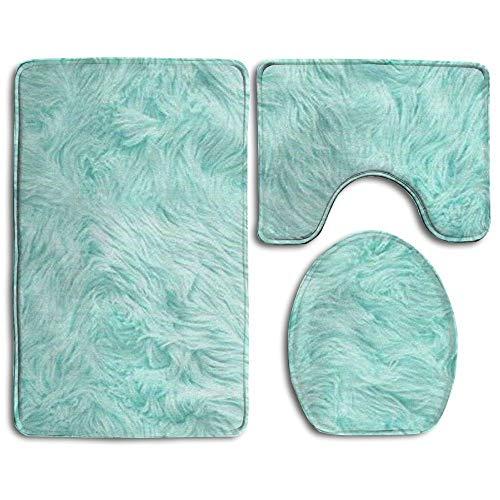 cwb2jcwb2jcwb2j badmat, 3-delig, badkamertapijtset, mintgroen, non-slip wc-stoelhoes, grote contourmat, dekselhoes voor mannen/vrouwen