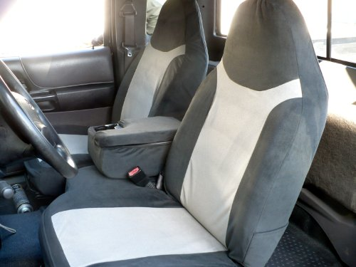 Durafit Seat Covers Made to fit 2002-2003 Ford Ranger, 60/40 Split Seat with Opening Center Console Seat Covers in Black/Gray Velour Fabric