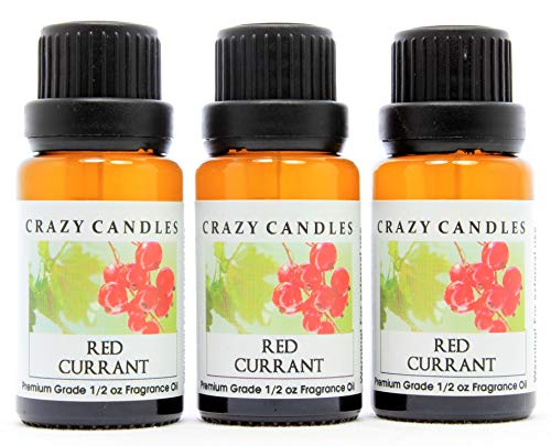Crazy Candles Red Currant (Made in USA) 3 Bottles 1/2 Fl Oz Each (15ml) Premium Grade Scented Fragrance Oil (Unique and Powerful Berry Aroma)