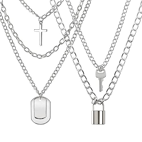 Xihuimay 2pcs Punk Hip Hop Necklace Key Lock Pendant Choker Matching Set His & Hers Couple Necklace Cross Link Chain Choker Jewelry Gift for Lover Anniversary Promise Necklace for Men Women, Silver