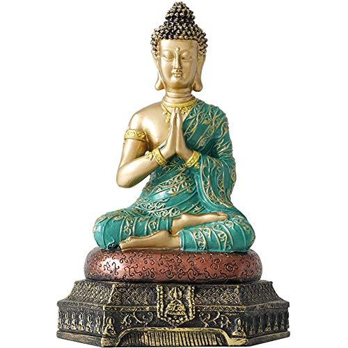 Statua di Buddha thailandese, Modello di Statua di Sakyamuni Casa Buddista Enshrine Zen Desktop Libreria Vetrina Display credenza Religiosa, A