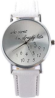 U-beauty Unisex Men Women Lady Girls i'm already late Leather Strap Watches Quartz Wristwatch (White)