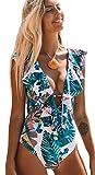 SPORLIKE Women One Piece Swimsuit V-Neck Ruffle Bathing Suit Monokini