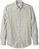 Amazon Essentials - Camisa informal de popelín de manga larga de corte entallado para hombre, Gold/Navy Plaid, US S (EU S)