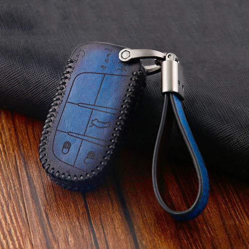 YUFFD Funda de cuero para llave de coche, funda protectora de control remoto para coche, protección de accesorios, para Jeep Fiat Dodge Chrysler Cherokee CompassB-azul